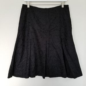 Black Eyelet Linen Skirt Anne Klein Fit and Flare
